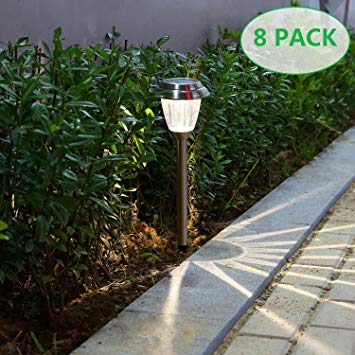 Amazon.com : voona Solar LED Outdoor Lights 8-Pack Stainless Steel