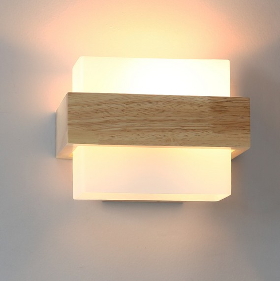Creative Wooden Glass Wall Sconce Simple Modern LED Wall Light