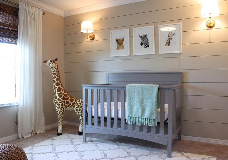 Boy's Nursery with Beige Shiplap Accent Wall - Transitional