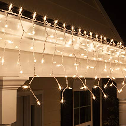 Amazon.com: Kringle Traditions 9 ft 150 Clear Icicle Lights with