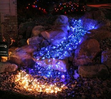 Christmas lights to create lit pond effect #led #outdoor | Outdoor