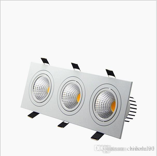 Recessed Led Dimmable Downlight 3 Head Square Led Down Lights COB