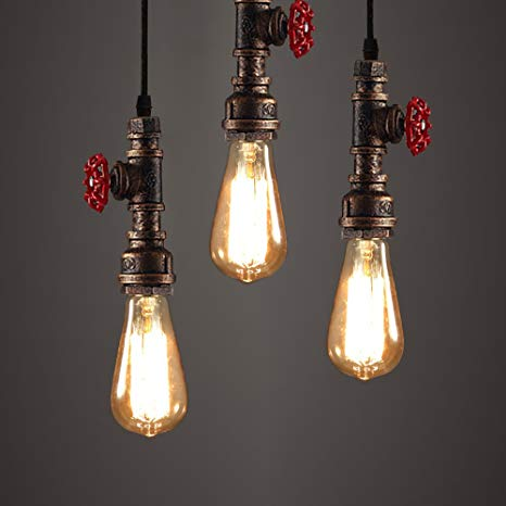 WINSOON 3 Pack Antique Pipe Light Fixture Rustic Bronze Metal