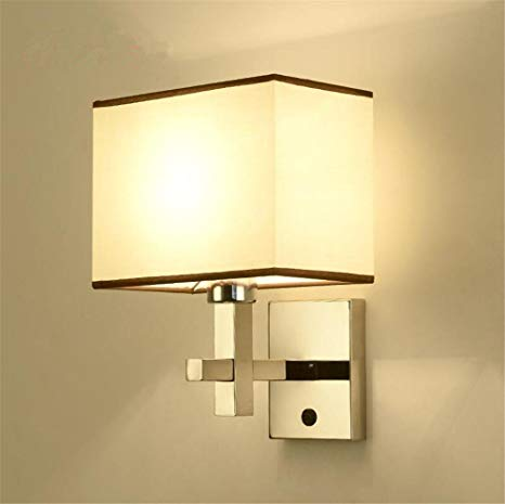 DHXY Wall Lights Modern E27 Bedside Fabric Lampshade Stainless Steel
