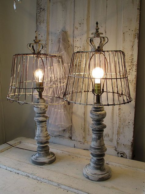 Wooden baluster table lamp rustic farmhouse distressed wood base w
