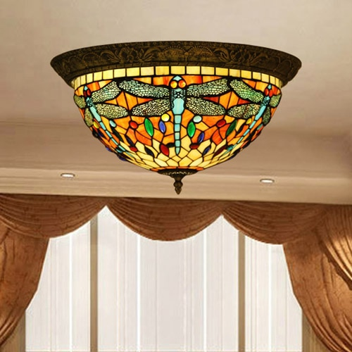 Vintage Tiffany Style Stained Glass Dragonfly Ceiling Lamp Fixture