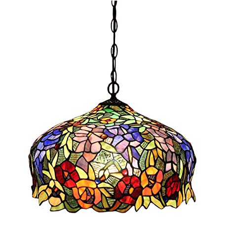 FUMAT Tiffany Pendant Lights Rose Flower Stained Glass Hanglamp 16