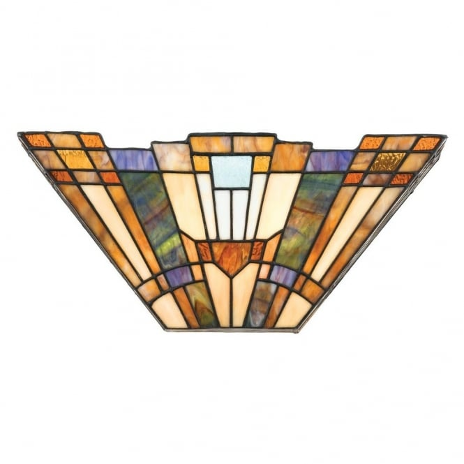 Tiffany Style Wall Washer with Art Deco Geometric Pattern Shade