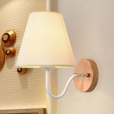 Industrial Wall Sconce with Fabric Shade and Gooseneck Fixture Arm