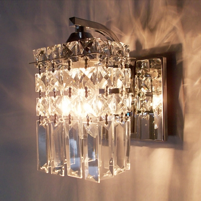 Polished Chrome Finish Wall Light Sconce Accented with a Column of