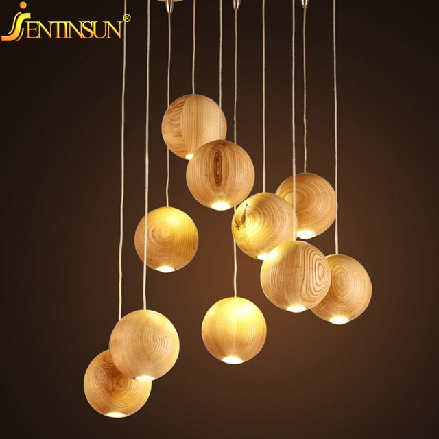 Modern Solid Wood Pendant Lamp Chinese Nordic Wooden Ball Light