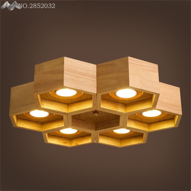 JW Wood LED Living Room Bedroom Ceiling Lights Children'S Room
