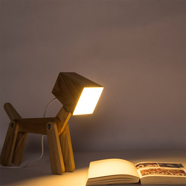Creative Wooden Table Lamps Touch 3 Levels Dimmable Bedroom Lamp Art