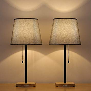 HAITRAL Set of 2 Wooden Table Lamps - Modern Bedside Lamps with