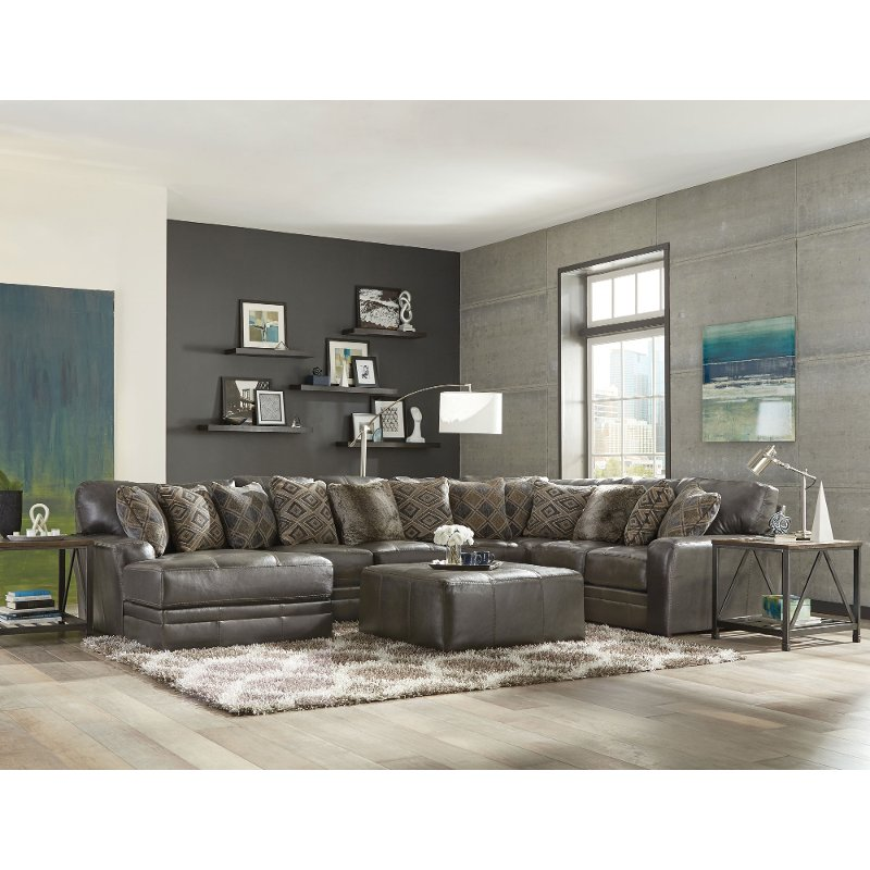 Steel Gray 5 Piece Sectional Sofa with LAF Chaise - Denali | RC Willey  Furniture Store