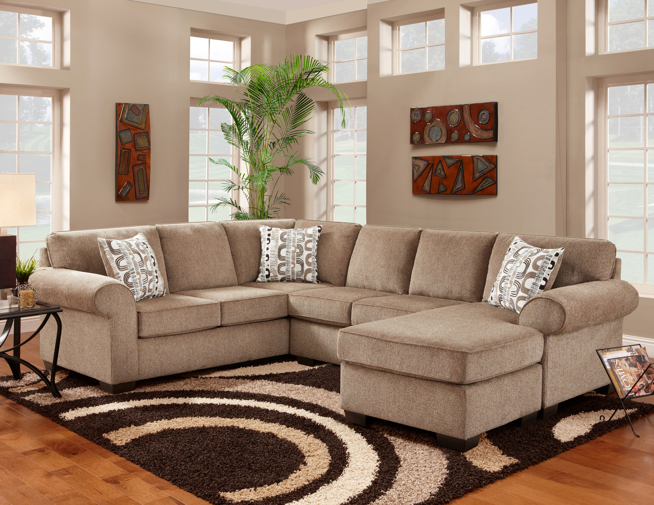 Affordable Jesse Cocoa Sectional Sofa