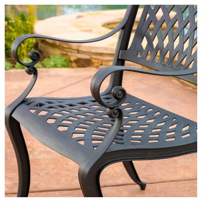 Hallandale Set Of 2 Cast Aluminum Patio Chairs - Black Sand - Christopher  Knight Home : Target