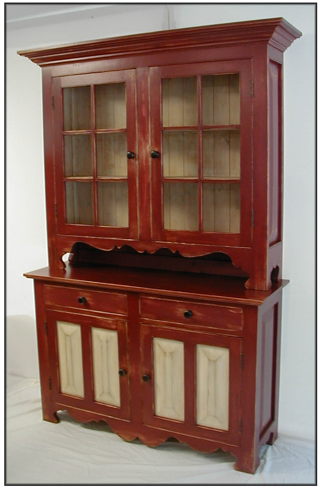 Flat to wall step back cupboard painted antique replica