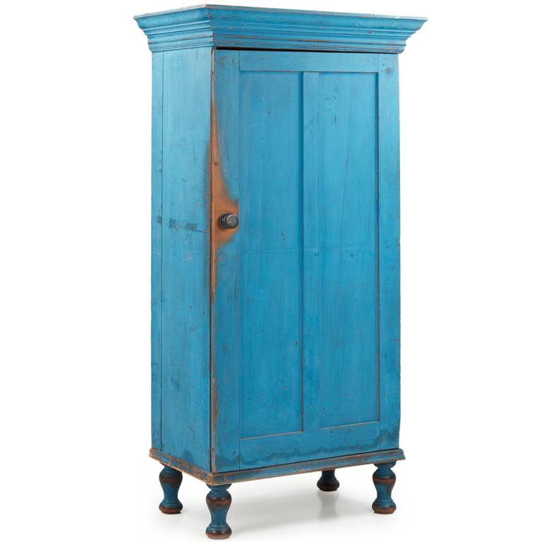 Folk Art Exceptional Pennsylvania Blue Painted Antique Cupboard Cabinet,  19th Century For Sale