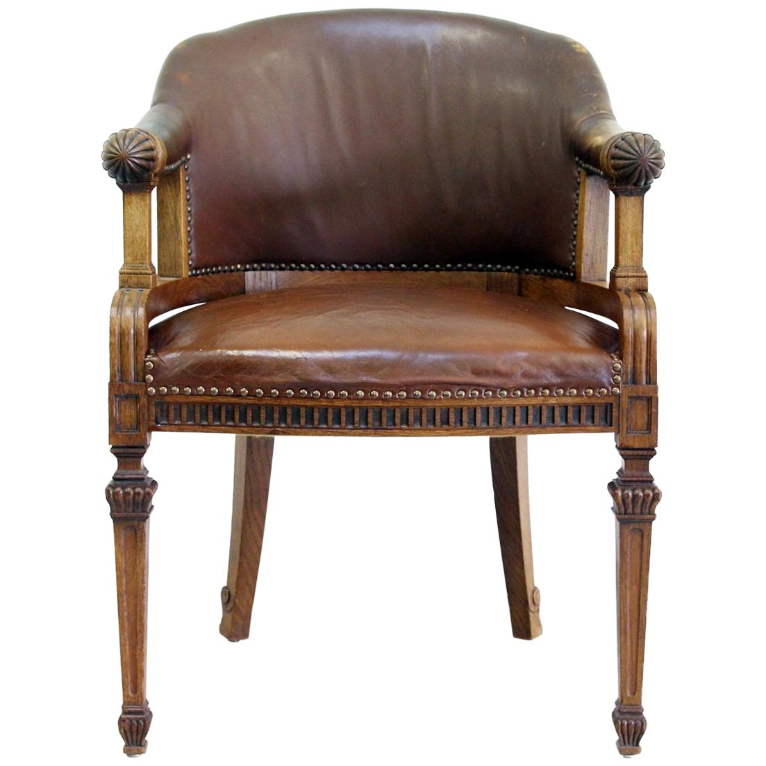 Office Chair Antique Early Days Armchair Office Armchair Leather Vintage  Chair For Sale at 1stdibs