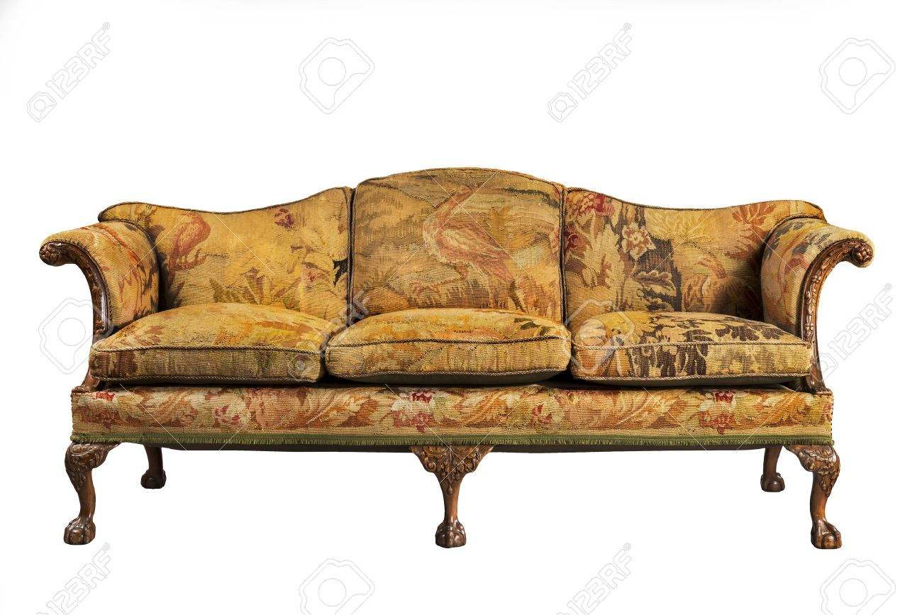sofa antique sofa settee with old original tapestry upholstery isolated on  white with clip path Stock