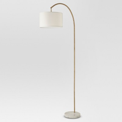 Shaded Arc With Marble Base Floor Lamp Brass Lamp Only - Project 62