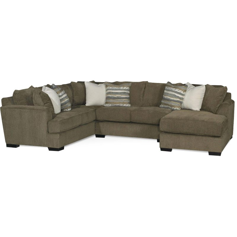 Brown 3 Piece Armless Loveseat Sectional Sofa with RAF Chaise - Tranquility  | RC Willey Furniture Store
