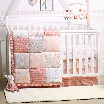 Traveller Location : Woodland Whimsy 4-Piece Baby Girl Forest Animal Theme Crib  Bedding Set : Baby