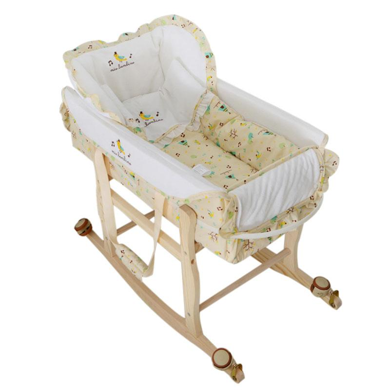 Wooden Baby Cradle High Quality Baby Crib Multi Functional Portable Bed  Safety Newborn Mat Set Furniture With Wheel Cribs Nursery Crib Bedroom  Furniture