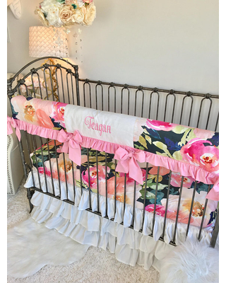 Navy Portadown Watercolor Floral Crib Bedding, Baby Pink Baby Bedding,  Bumperless Crib Bedding,