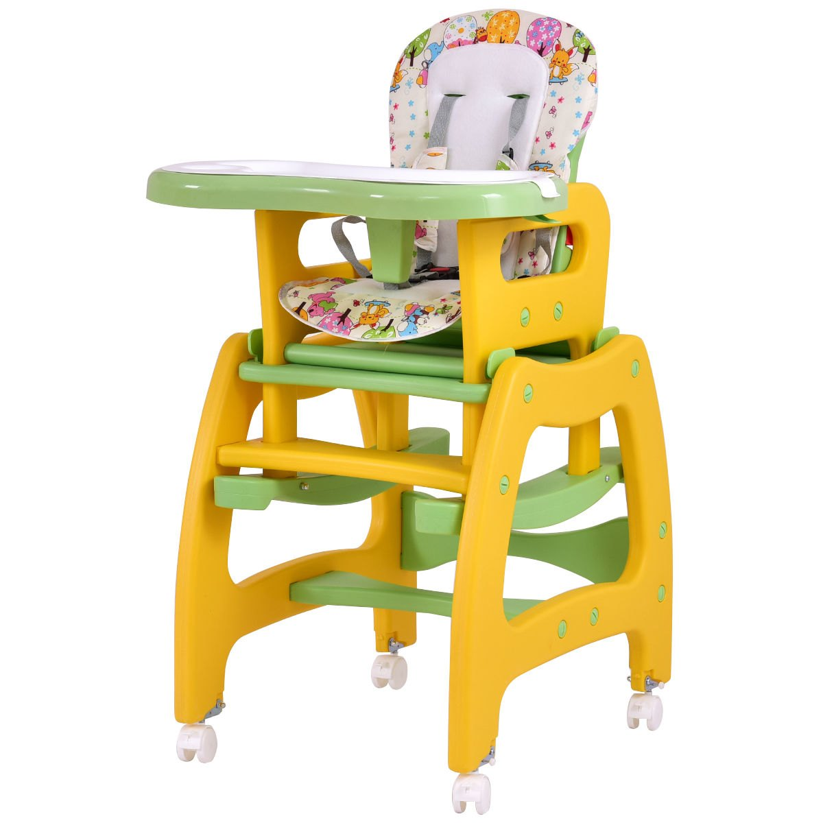 Costway 3 in 1 Baby High Chair Convertible Play Table Seat Booster Toddler  Feeding Tray 0