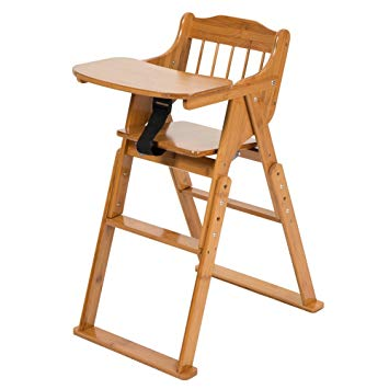 Traveller Location : ELENKER Wood Baby High Chair with Tray. 3 Gear Adjustable  Height Foldable Feeding Baby Highchair : Baby