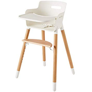 Traveller Location : Wooden High Chair for Babies and Toddlers - with Harness,  Removable Tray, and Adjustable Legs : Baby