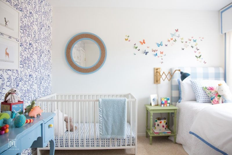 Baby boy room decor-Hunt Slonem Bunnies nursery accent wall and white paint  in boy