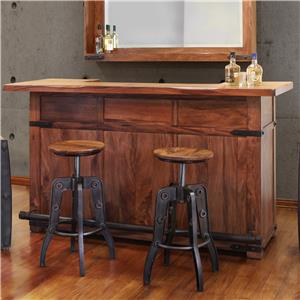 Wood Bar with Iron Footrest