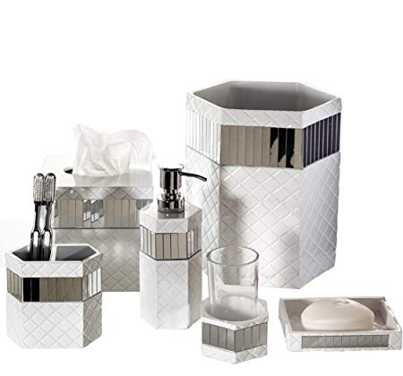Traveller Location: Creative Scents Quilted Mirror Bathroom Accessories Set, 6  Piece Bath Set Collection Features Soap Dispenser, Toothbrush Holder,  Tumbler,