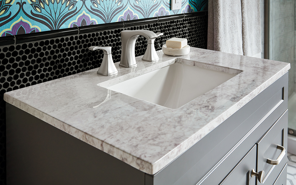 Marble Bathroom Vanity Countertops. A gray and white marble bath vanity  top. - Choosing a Bathroom Vanity
