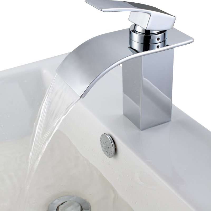Deck Mount Waterfall Bathroom Sink Faucet with Hoses & Reviews | Joss & Main