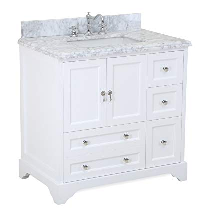 Madison 36-inch Bathroom Vanity (Carrara/White): Includes Italian Carrara  Marble