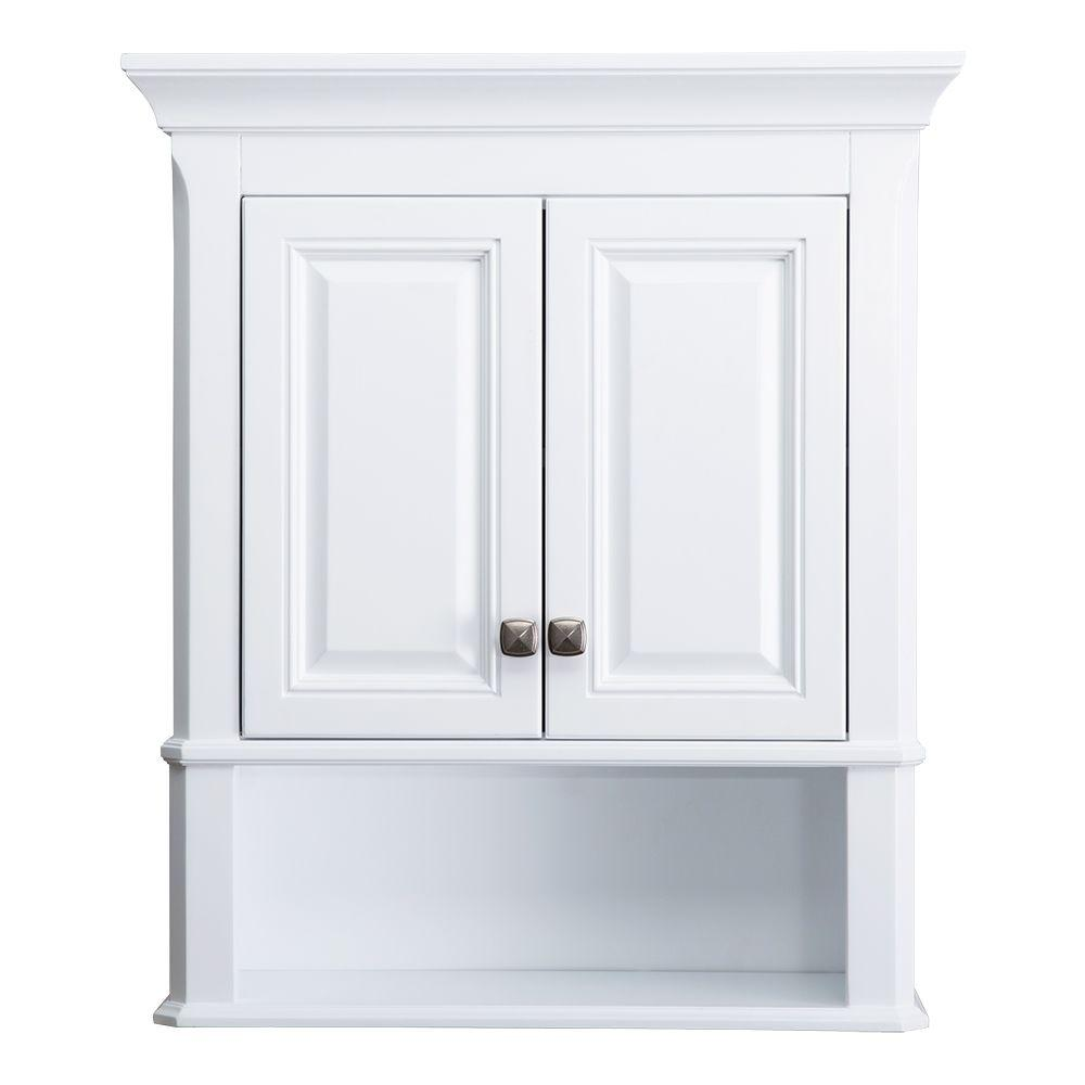 Home Decorators Collection Moorpark 24 in. W Bathroom Storage Wall Cabinet  in White