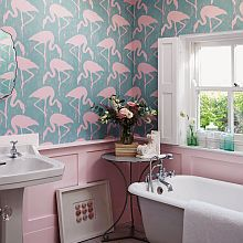 As bathrooms are usually one of the smallest rooms, they are the perfect  place to try something bold and express yourself. One wall of something  wild,