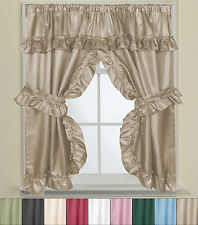 Bathroom Window Curtain Set W/Tie Backs & Ruffle Valance Lauren 70
