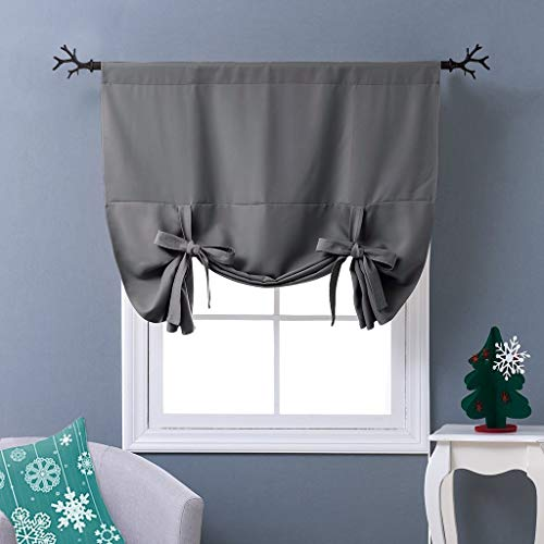 NICETOWN Thermal Insulated Blackout Curtain - Grey Tie Up Shade for Small  Window, Window Valance