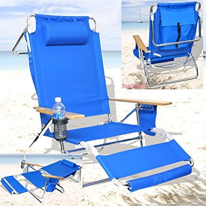 Amazon.com : Deluxe 3 in 1 Beach Chair/Lounger w/Drink Holder and
