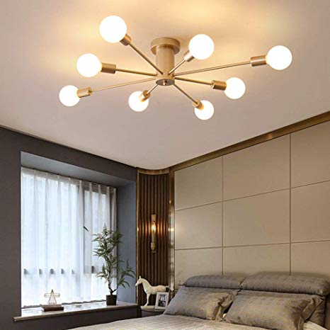 Sheen Modern Ceiling Light Fixture, 8 Lights Semi-Flush Mount E26