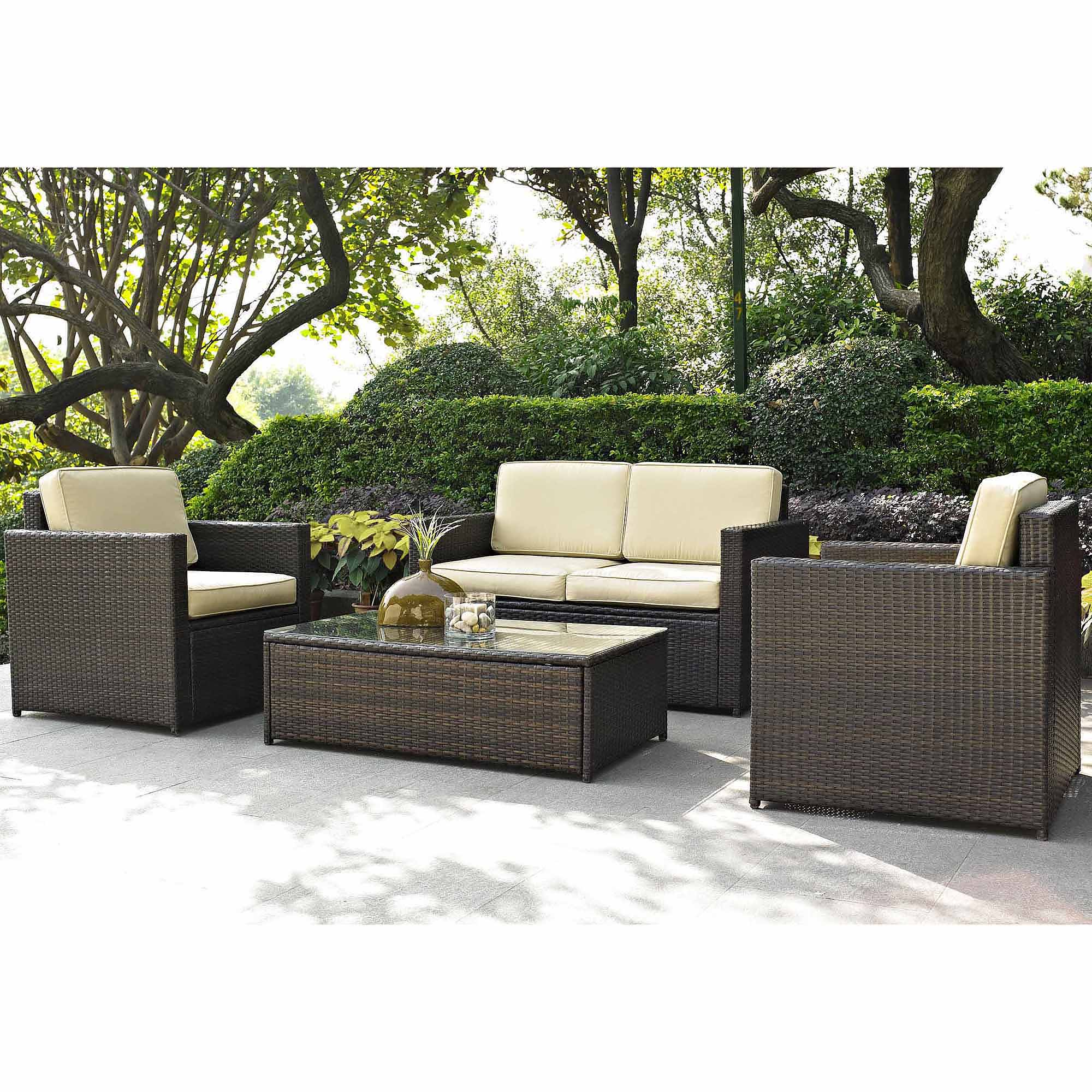 Best Choice Products 4-Piece Wicker Patio Furniture Set w/ Tempered Glass,  3 Sofas, Table, Cushioned Seats - Black - Traveller Location