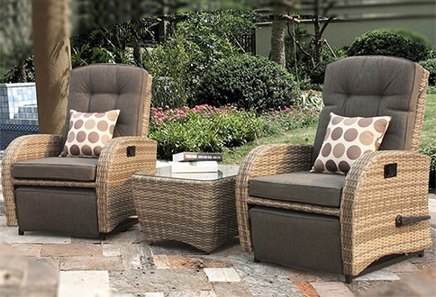 Extra cushions are also included in these patio sets. The modular style  provides flexibility to use as a set or individual pieces.