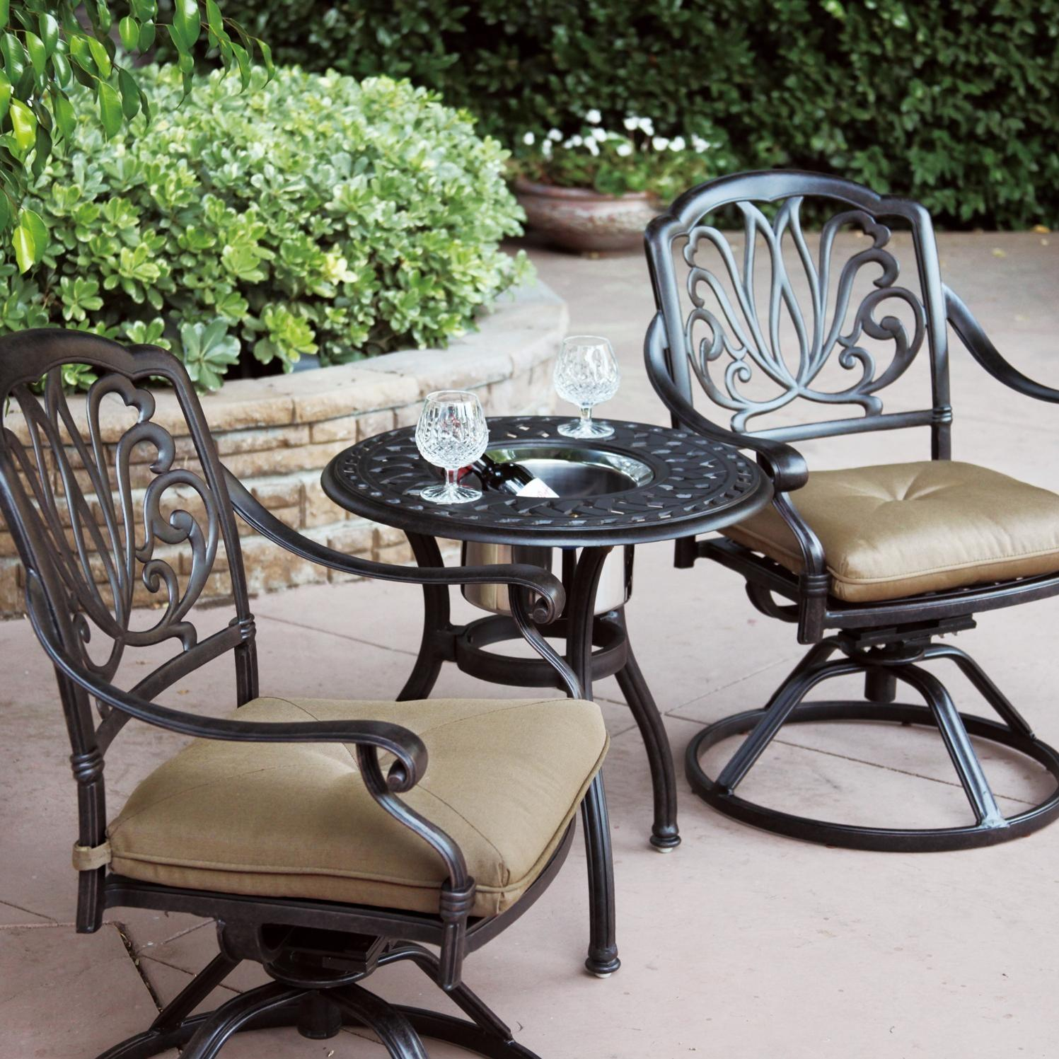 Darlee Elisabeth 3 Piece Cast Aluminum Patio Bistro Set With Swivel Rocker  Chairs - End Table With Ice Bucket Insert : BBQ Guys