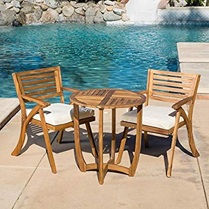 Traveller Location : Patio Furniture Sets, Outdoor Bistro Sets, Brown Contemporary,  Modern, Coronado Outdoor 3-piece Acacia Wood Round Bistro Set with Cushions