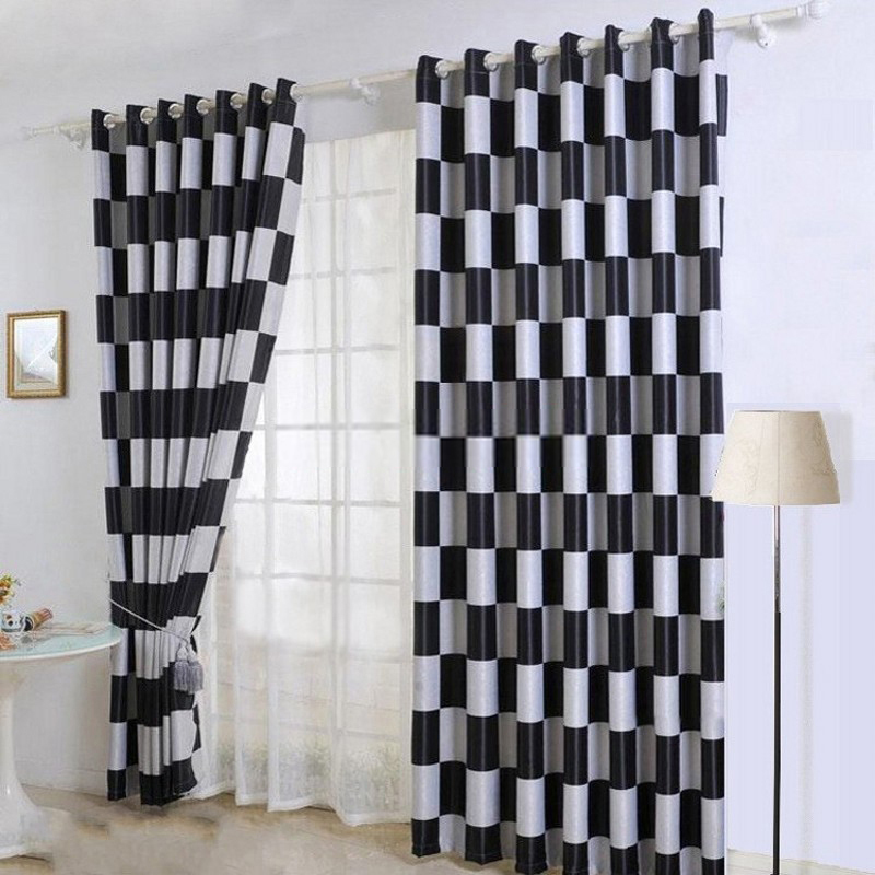 Elegant Black And Grey Plaid Curtains For Living Room Bedroom Pertaining To White  Drapes Decorations